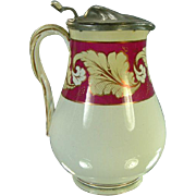 "1800's Staffordshire 8"" Milk/Syrup Pitcher, Pink Luster, Rope Handle"