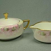 Bernardaud Limoges Pink & White Creamer & Sugar Bowl