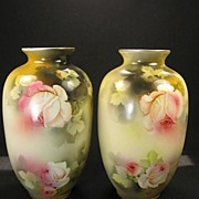SOLD Pair Early 1900's Staffordshire Vases with Roses