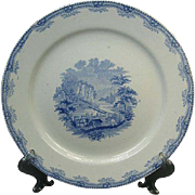 Mid 1800's Ridgeway Staffordshire Plate: Harper's Ferry From The Potomac Side