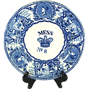 """British Navy Mess No 8 Plate """"Young Head and Crown"""", Mid 1800s"""