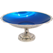 Mid Century Silver and Blue Enamel Compote