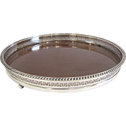 Mid Century Modern Silver and Wood Grain Formica Round Gallery Tray