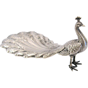 SOLD Antique Sterling Silver Peacock Trinket, Ring Dish