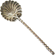 Sterling Silver Salt Spoon, Shell with Twist Handle