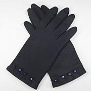 Vintage Pair Van Raalte Navy Blue Gloves, Bead Trim
