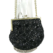 Vintage Black Bugle Bead & Sequin Evening Purse, Made in Hong Kong