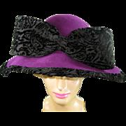 Mr. John Purple Hat with Black Velvet Bow