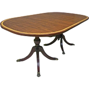 Oval Mahogany, Double Pedestal Dining Table with 4 Leaves