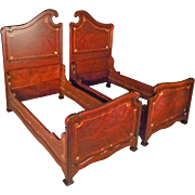 Pair of Inlaid Mahogany Twin Beds