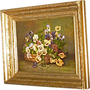 Pansy Painting with Gold Victorian Frame