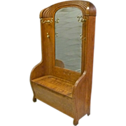 Art Nouveau Oak Hall Bench with Mirror