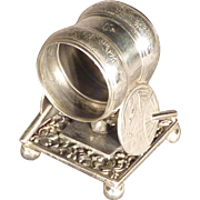 Figural Victorian Silver Plate Napkin Ring with Fans