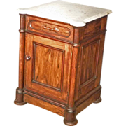 Marble Top Victorian Rosewood Half Commode, End Table