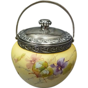 Victorian Satin Cased Glass Jar with Silver Plate Lid