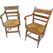 Tiger Maple Sheraton Armchairs with Rush Seats