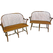 Pair of Windsor Benches, Custom Made by Duckloe Bros., PA