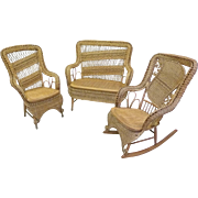 3 Piece Wicker Parlor Set