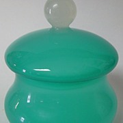 SOLD Vintage Opaline Glass Covered Puff Box