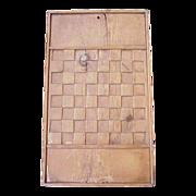 Folk Art Carved Pine Checker Board 1800's