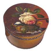 Wooden Hat Box Decorated on lid with Hand Painted Peony