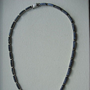 Vintage Sterling Mexican Modernist Sodalite Necklace