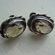 Vintage Silver Smokey Quartz Screw Back Earrings