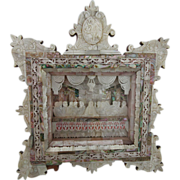 SOLD Vintage Icon Carved Mother Of Pearl Bethlehem The Last Supper Shadow Box