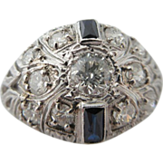 Fabulous Antique Platinum Sapphire And Diamond Dome Ring