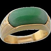 "Vintage 14 Kt ""A"" Grade Chinese Jade Ring"