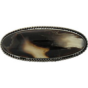 Large Antique Victorian Silver And Scottish Agate Stone Brooch