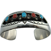 "Vintage Native American New Mexico Sterling Turquoise And Coral ""W Long"" Cuff Bracel"