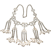 "Vintage Sterling Modernist Necklace And Earrings Set Signed ""Kalupe"""