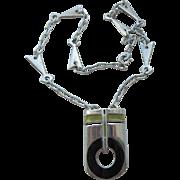 """Vintage Italian Sterling Enameled """"UNOAERRE"""" Modernist Necklace"""