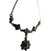 Vintage Bohemian Garnet Necklace in A Silver Gilt Setting