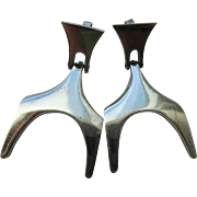 "Vintage Modernist Sterling Mexican Earrings Signed ""Miguel Pineda"""