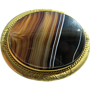 Antique Victorian Large Banded Scottish Agate Set In Gold Filled Frame Brooch