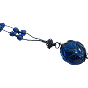 Vintage 1920's Art Deco Chinese Cobalt Blue Glass Beaded Flapper Necklace On Hand Knotted Silk