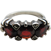 Vintage Sterling Garnet and Marcasite Ring