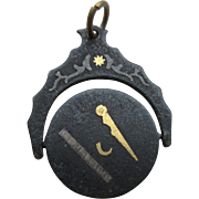 """Antique Victorian Iron """"Spinning"""" Masonic  Watch Fob With Silver And Gold Inlay"""