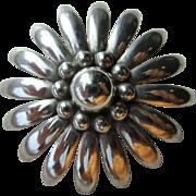 Vintage Sterling Mid Century Modernist Flower Brooch Signed Denmark, MS