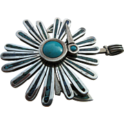 "Vintage Sterling And Turquoise Mid Century Modernist Cecelia Tono of Tazco  ""Twirling"""