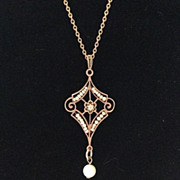 SOLD Antique Victorian Diamond & Pearl Lavalier Pendant
