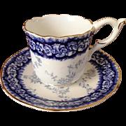Coalport Cobalt Blue English Demitasse Cup and Saucer