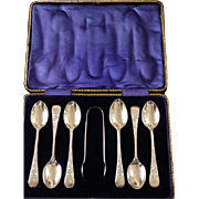 Antique Sterling Silver Hallmarked Boxed Tea Spoons and Sugar Tongs