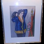 SALE Watercolor - Portrait of a Lady French Art Nouveau