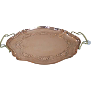 Art Nouveau - Arts & Crafts copper tray with brass handles