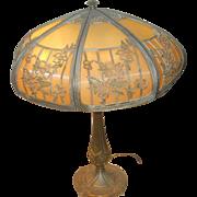 SALE Bradley & Hubbard Arts & Crafts - Art Nouveau lamp-signed shade