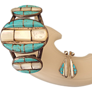 SALE Navajo Crafted Sterling Cuff Bracelet & Earring Set, Turquoise & Mother Of Pearl Gemstone