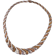 REDUCED Tri Tone Gold Vermeil Italian Necklace, Solid & Gorgeous!